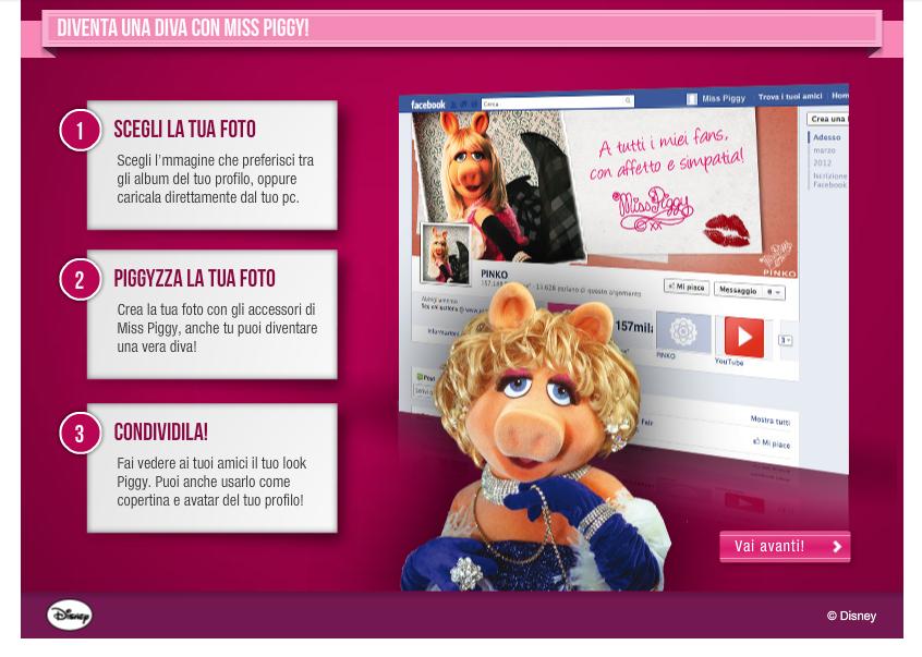 applicazione miss piggy for pinko