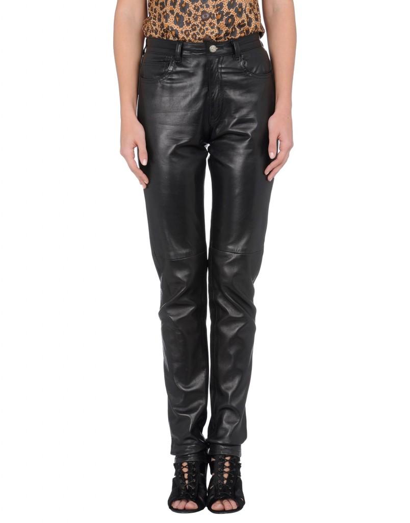 pantalone nero pelle vintage