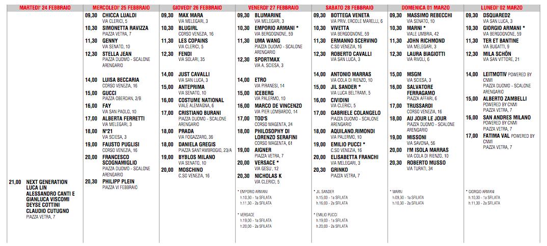 Calendario Milano Moda Donna febbraio 2015