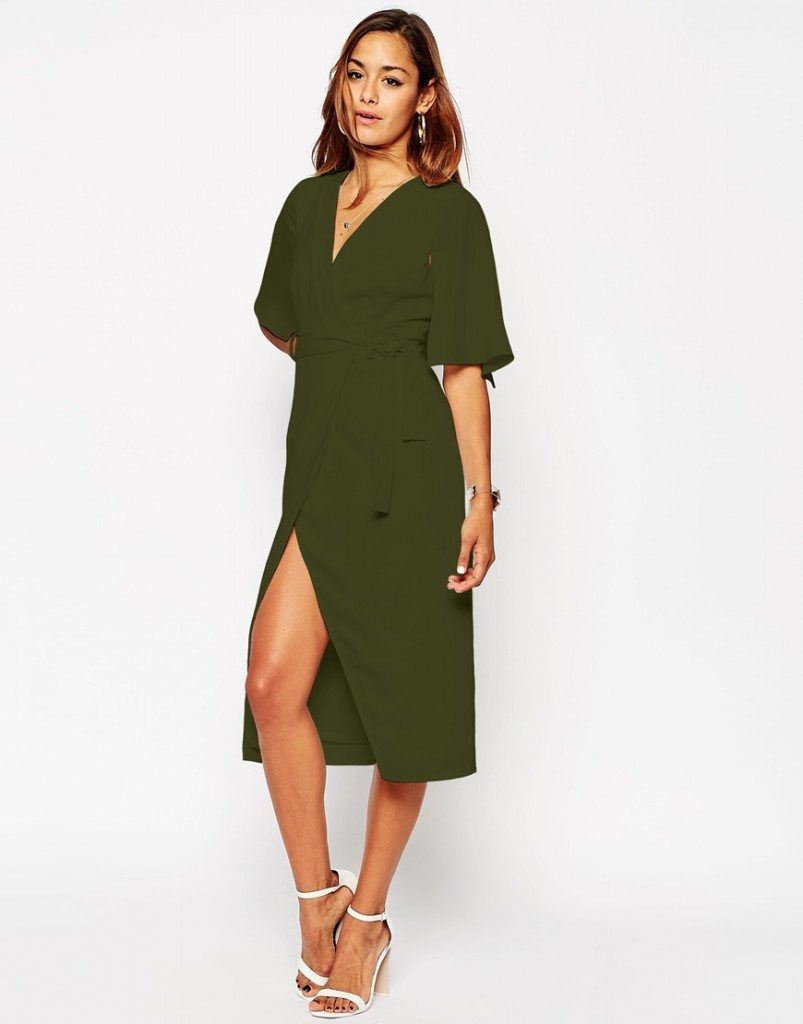 Asos wrap dress verde