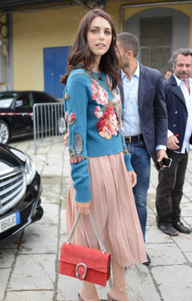 Miriam-Leone-Gucci-Suede-Dionysus-Bag