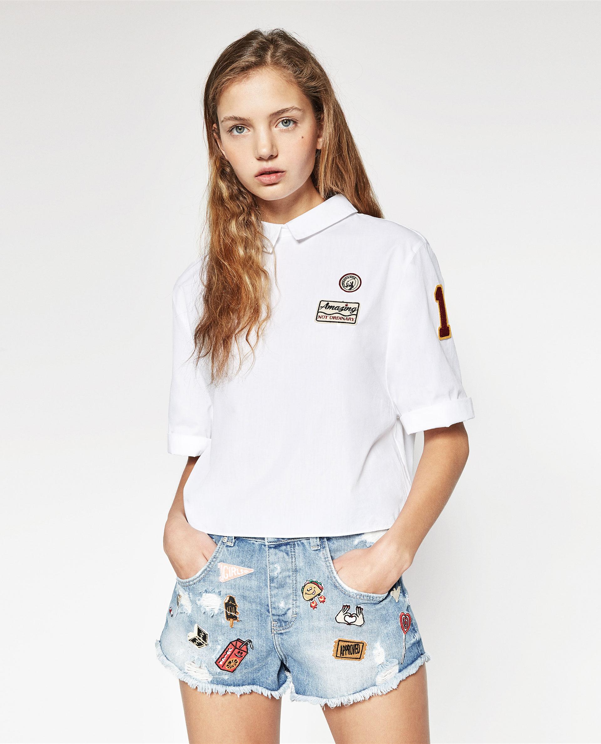 camicia con toppe Zara