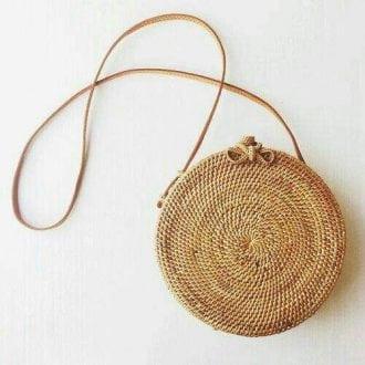 borsa di paglia rotonda